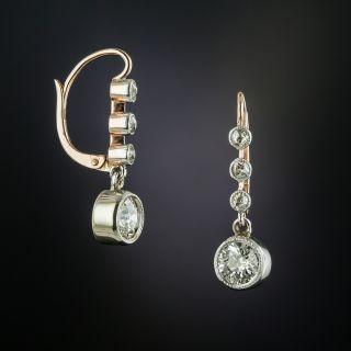 Early-Art Deco Diamond Drop Earrings - 2