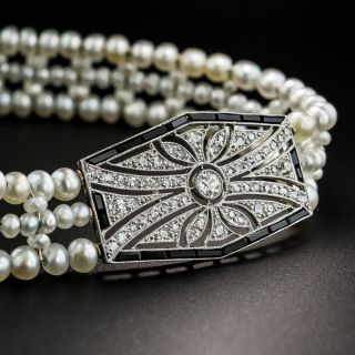 Early Art Deco Diamond, Pearl and Onyx Bracelet - 2