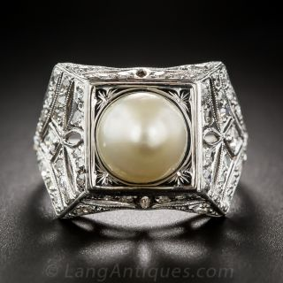 Early Art Deco Natural Pearl and Diamond Ring