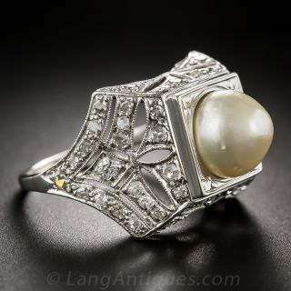 Early Art Deco Natural Pearl and Diamond Ring - 2