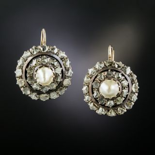 Early Victorian Mabe Pearl and Diamond Cluster Earrings - 3