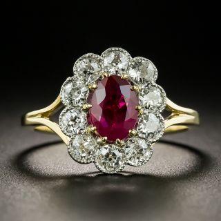 Edwardian 1.01 Carat Burmese Ruby and Diamond Ring - 2