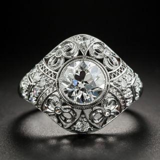 Edwardian 1.37 Carat Diamond Platinum Ring - GIA I VS1 - 2