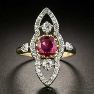Edwardian 1.40 Ct. Burma No-Heat Ruby Diamond Dinner Ring  - 1