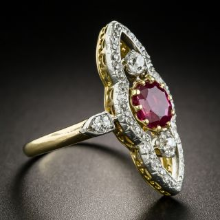 Edwardian 1.40 Carat Burma No-Heat Ruby Diamond Dinner Ring