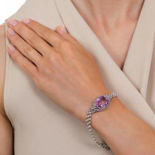 Edwardian 14.50 Carat No-Heat Pink Ceylon Sapphire Seed Pearl Bracelet
