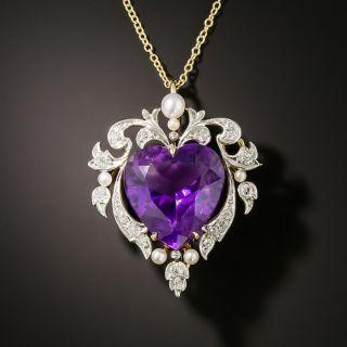 Edwardian Amethyst Heart and Diamond Necklace/Brooch - 3