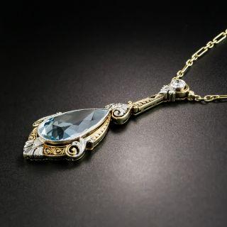 Edwardian Aquamarine and Diamond Necklace