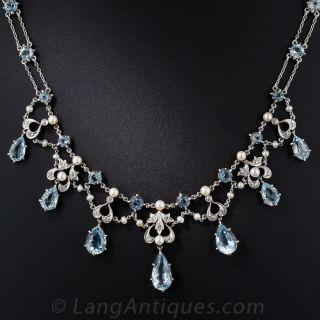 Edwardian Aquamarine and Pearl Necklace - 1