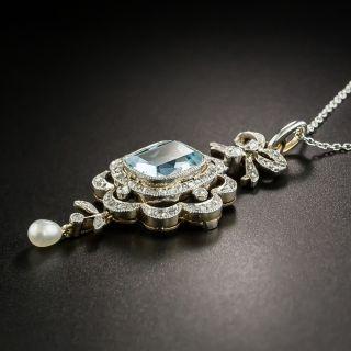 Edwardian Aquamarine, Diamond and Pearl Necklace