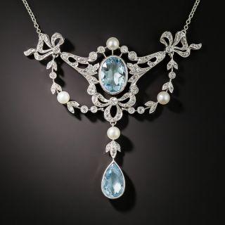 Edwardian Aquamarine Pearl and Diamond Necklace - 4