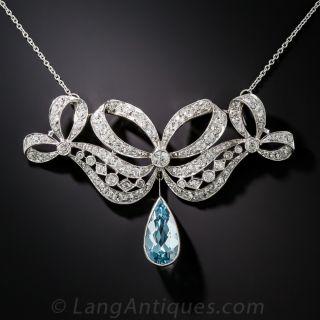 Edwardian Aquamarine, Platinum and Diamond Necklace - 1