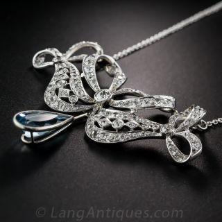 Edwardian Aquamarine, Platinum and Diamond Necklace