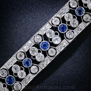 Edwardian/Art Deco Diamond and Sapphire Bracelet - 1