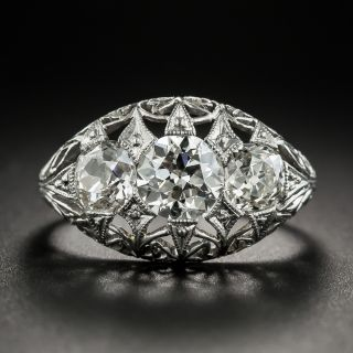 Edwardian/Art Deco Platinum Three-Stone Diamond Ring - 2