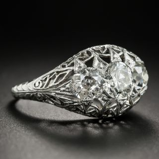 Edwardian/Art Deco Platinum Three-Stone Diamond Ring