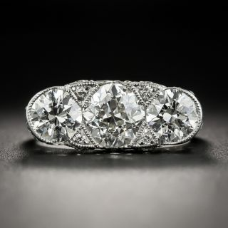 Edwardian/Art Deco Three-Stone Platinum Diamond Ring - GIA   - 1