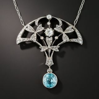 Edwardian Blue Zircon and Diamond Pendant Necklace - 1
