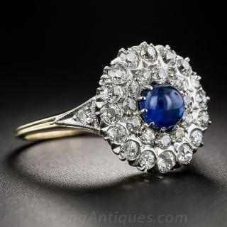 Edwardian Cabochon Sapphire and Diamond Ring