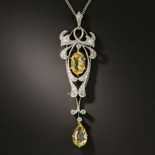 Edwardian Citrine and Diamond Pendant Necklace - 2