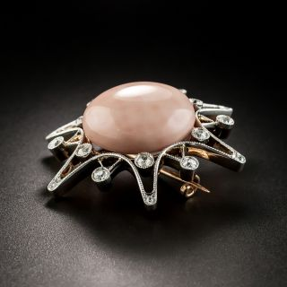 Edwardian Coral and Diamond Star Brooch