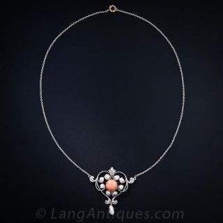 Edwardian Coral and Pearl Heart Necklace