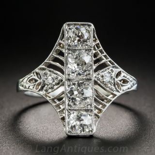 Edwardian/Deco Platinum Diamond Dinner Ring