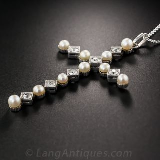 Edwardian Diamond and Natural Pearl Cross