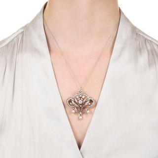 Edwardian Diamond and Natural Pearl Brooch / Pendant