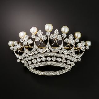 Edwardian Diamond and Natural Pearl Crown Brooch - 2