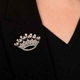 Edwardian Diamond and Natural Pearl Crown Brooch