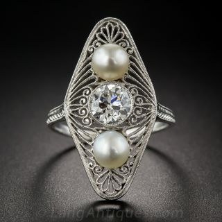 Edwardian Diamond and Natural Pearl Dinner Ring