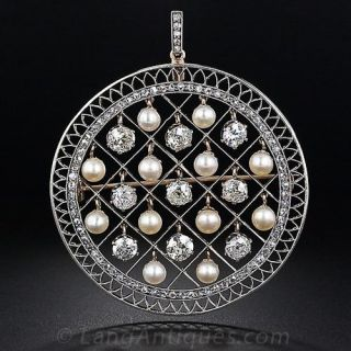Edwardian Diamond and Natural Pearl Disc Pendant - 1
