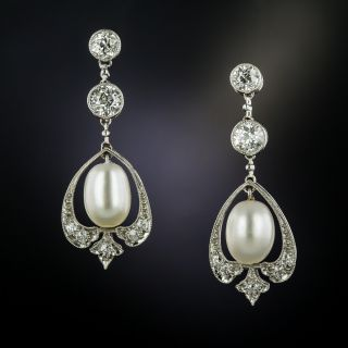 Edwardian Diamond and Natural Pearl Earrings - GIA - 3