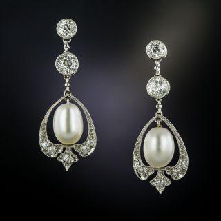 Edwardian Diamond and Natural Pearl Earrings - GIA - 3