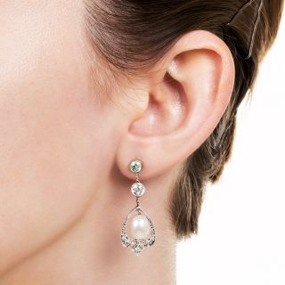 Edwardian Diamond and Natural Pearl Earrings - GIA