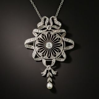 Edwardian Diamond and Pearl Bow and Ribbon Lavalière  - 2