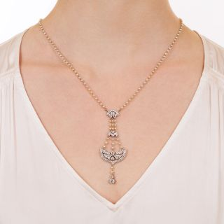 Edwardian Diamond and Natural Pearl Lavalière Necklace