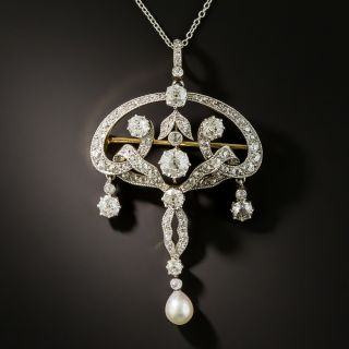Edwardian Diamond and Pearl Drop Pendant/Pin - 2