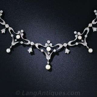 Edwardian Diamond and Pearl Necklace - 3