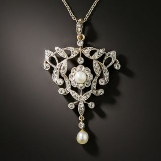 Edwardian Diamond and Pearl Necklace/Brooch - 3