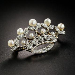 Edwardian Diamond and Pearl Tiara brooch by Kohn - 4