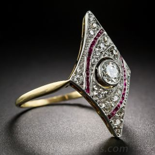 Edwardian Diamond and Ruby Dinner Ring
