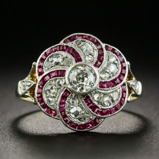 Edwardian Diamond and Synthetic Ruby Ring - 2
