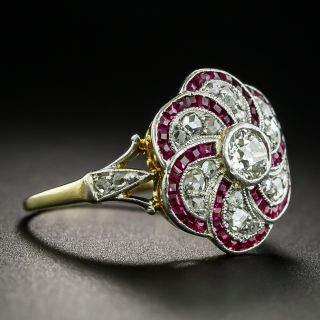 Edwardian Diamond and Synthetic Ruby Ring