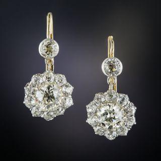 Edwardian Diamond Cluster Drop Earrings - 1