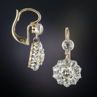 Edwardian Diamond Cluster Drop Earrings