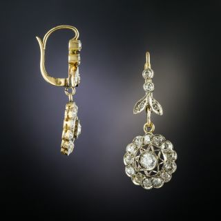 Edwardian Diamond Dangle Cluster Earrings - 1