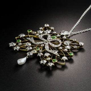 Edwardian Diamond, Demantoid Garnet and Pearl Pendant Necklace