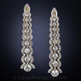 Edwardian Diamond Drop Earrings - 1